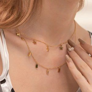 NEW 18K Gold Plated Star Square Drop Double Layer Necklace